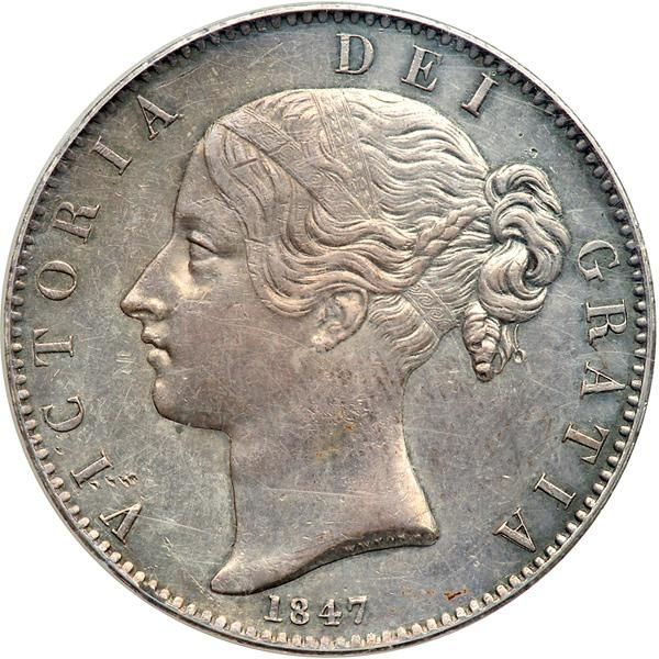 Great Britain. Crown, 1847. PCGS AU53 S. 3882; ESC-286; Dav-105; KM-741. Victoria. Young head. A few minor surface marks. Steel gray toning. Estimated Value $700 - 900. #Coins #MADonC