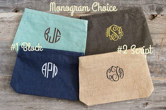 Monogrammed Cosmetic Bags Custom Bridesmaid Makeup Bags
