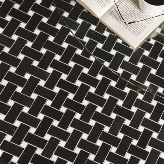Basketweave Black With White Dot Polished Marble Mosaic