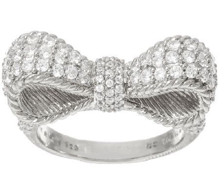 Judith Ripka Sterling 1.45 cttw Diamonique Pave Bow Ring
