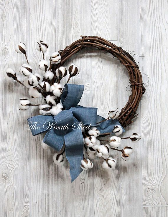 Free Shipping, Natural Cotton Wreath & Denim Blue Bow, Farmhouse Cotton Wreath, Natural Cotton Stems, 2nd Anniversary Gift, Farmhouse Decor