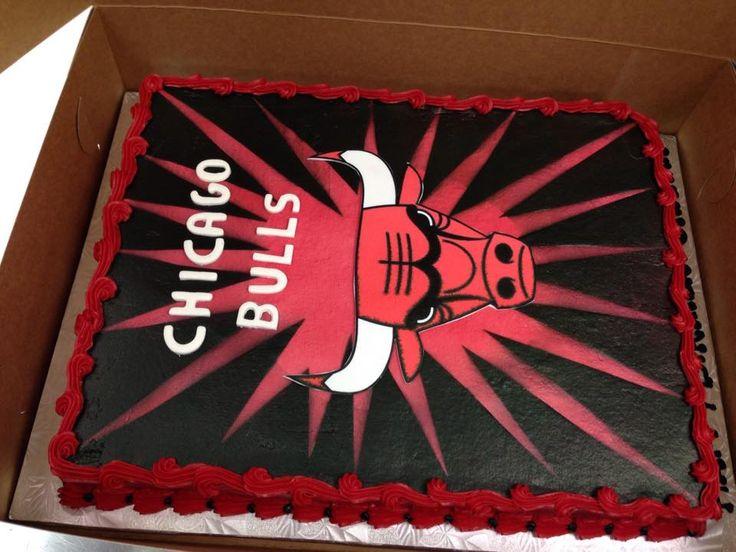 Chicago Bulls Cake. #cake #chicagobulls #redandblack #horns