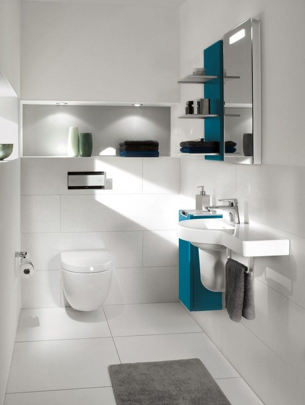 Toiletfontein met afzetruimte voor spulletjes. Deze fontein heeft een handige afzetruimte voor de benodigde spulletjes in de toiletruimte. Het is afkomstig uit de serie Subway 2.0 van Villeroy & Boch. Deze serie bevat een aantal slimme ruimtebesparende ideeën voor de badkamer en het toilet. De serie is verkrijgbaar in vijf kleuren. Villeroy & Boch