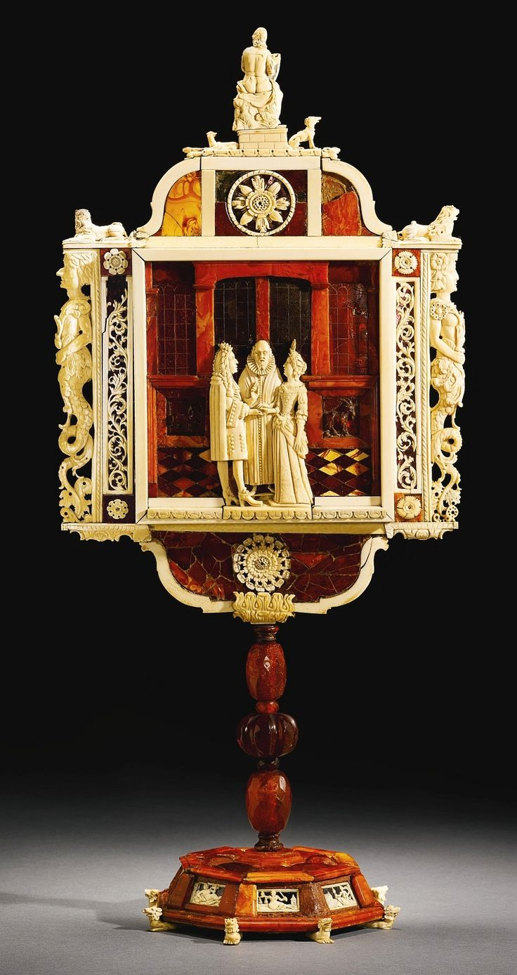 Amber And Ivory Mirror With A Couple Before A Pastor By Anonymous From  Gdańsk, Ca