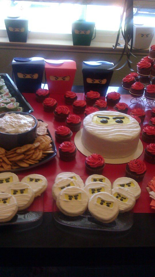 "Ninjago! Zane cake and cookies, with ninja ""goody boxes"" Sooo easy and cool!"
