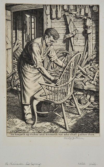 Stanley Anderson (British, 1884-1966) The Chairmaker signed in pencil (in the margin) line engraving 21.5cm x 15cm, unframed.  Sold for £550
