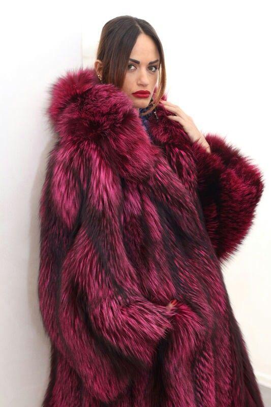 Pink Purple Dyed Fur Coat Fur Coat