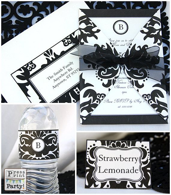 Black Damask Party Printables -Complete Set - EDITABLE w. MONOGRAM.
