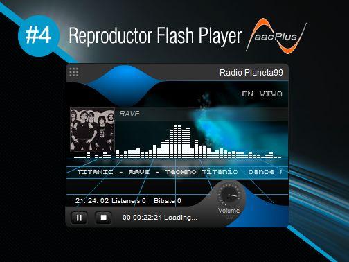 Reproductor Flash Player AACPlus #4 gratis de SurDataCenter®, permite reproducir su streaming (radio por internet) de alta calidad Eficiencia sin necesidad de instalar ningun plugin y/o programa adicional. www.surdatanet.net - www.moqueguahost.com - www.surdatacenter.com