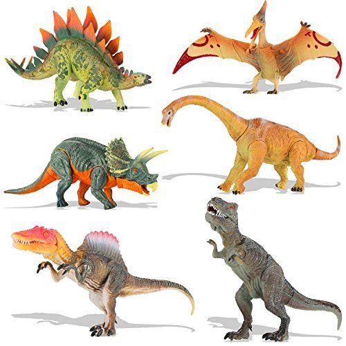 QuadPro Dinosaur Toys Sets for Kids 6 Piece Jumbo Plastic Dinosaurs Figures Include Triceratops Brachiosaurus SpinosaurusStegosaurus Pterodactylus T Rex Toy STEM Toys for Boys and Girls