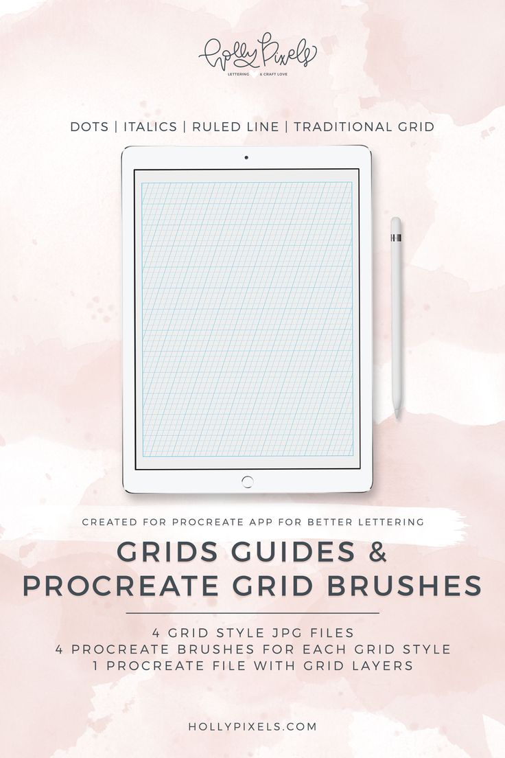 Procreate Grid Brushes and Practice Blank Guides $5