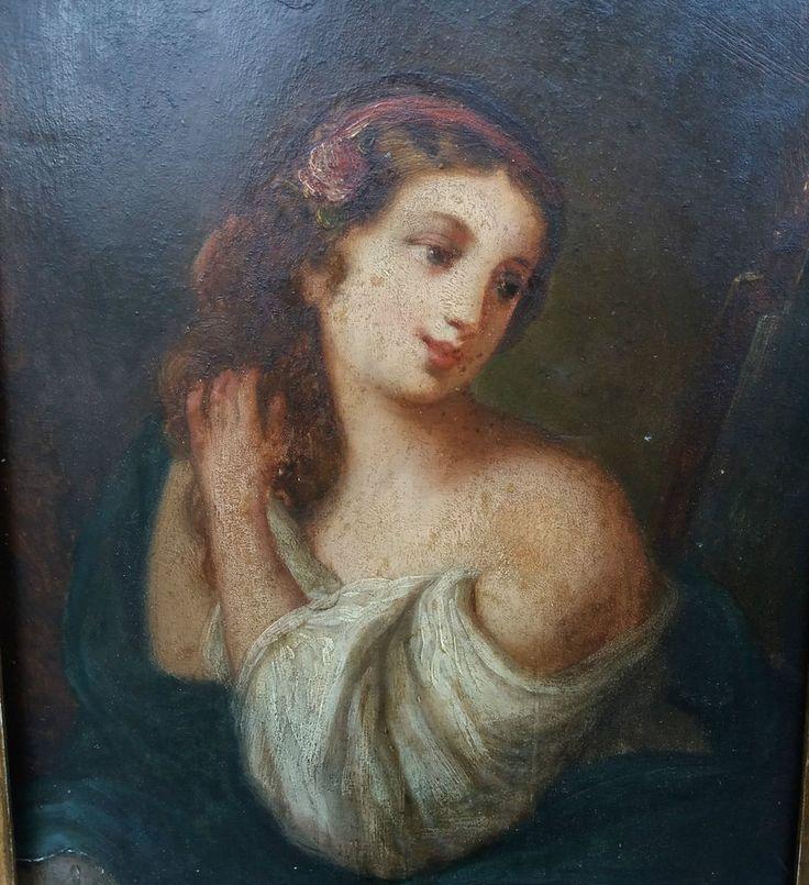 Anonyme Tableau ancien huile sur bois époque XIXème jeune femme se coiffant (4F)