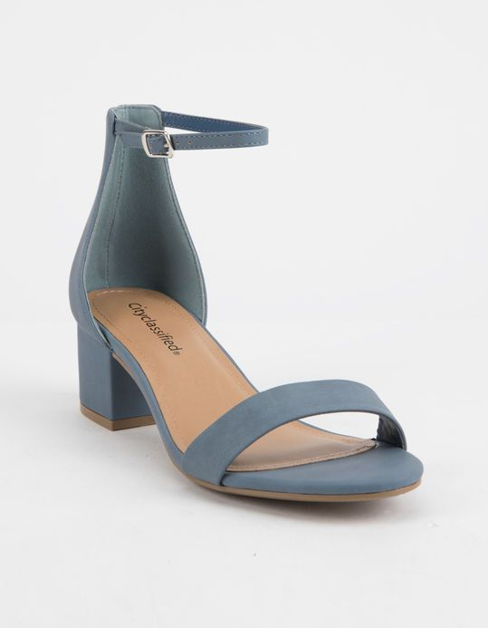 c652a224da CITY CLASSIFIED Microsuede Blue Womens Heeled Sandals | Shoes ...