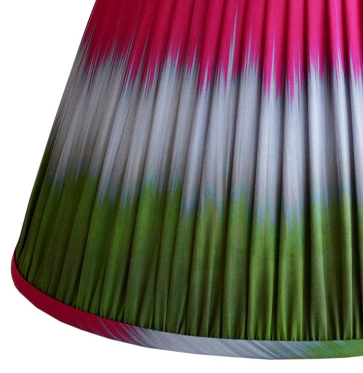 Wave Ikat - Green Pink - Gathered Pleat Lampshade Ikat Lampshades - new from Ptolemy Mann and Copper and Silk: www.ptolemymannshop.com