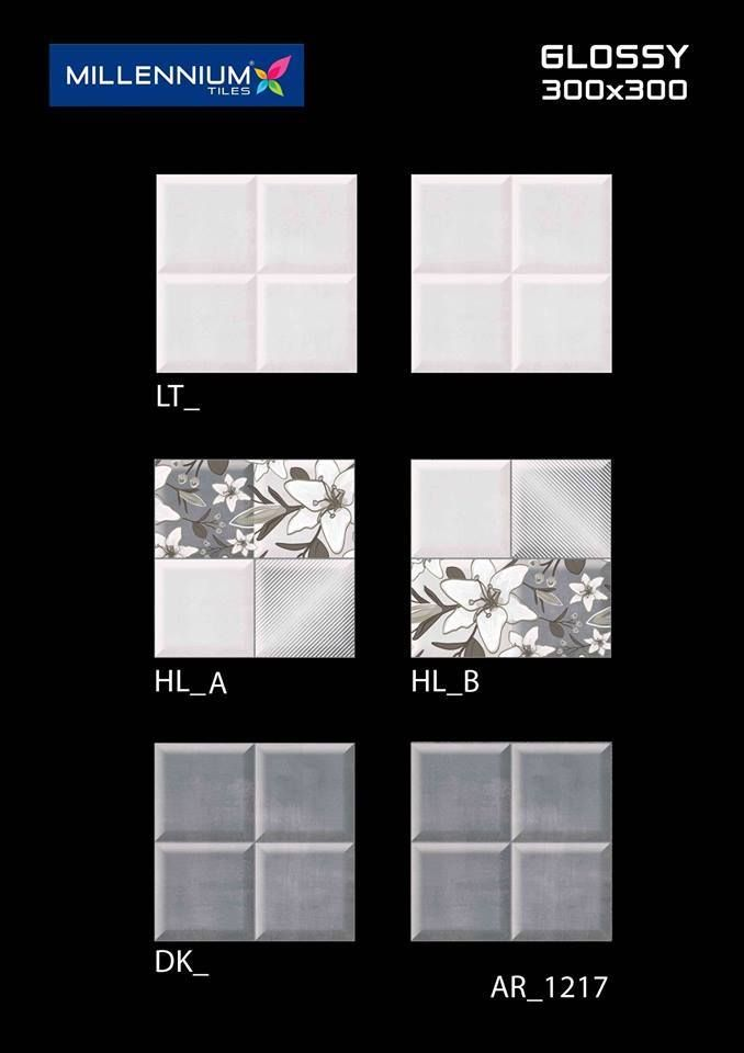 AR_1217 - Millennium #Tiles 300x300mm (12x12) Digital Ceramic Glossy #WallTiles  - LT_   - HL_A   - HL_B   - DK_   - 3D Technology: Our physical environment is three-dimensional and we see the world in a 3D way, you will have a feeling of depth with our 3D visual experience.  - HD Technology: High-definition technology (HDT) provides a resolution that is substantially higher that of standard-definition tiles. #interiordesign