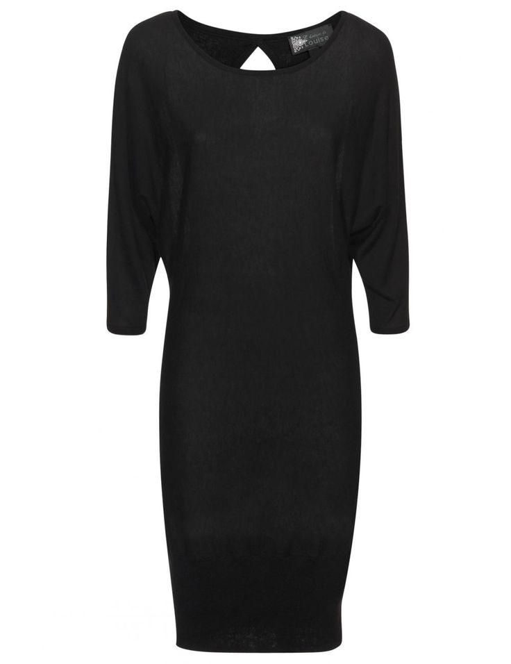 Vergroot - Lang zwart kleedje in fijn tricot