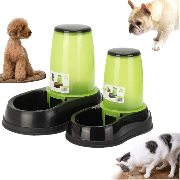 Pet Puppy Cat Automatic Food Feeder Water Bottles Dispenser Food Dish Bowl