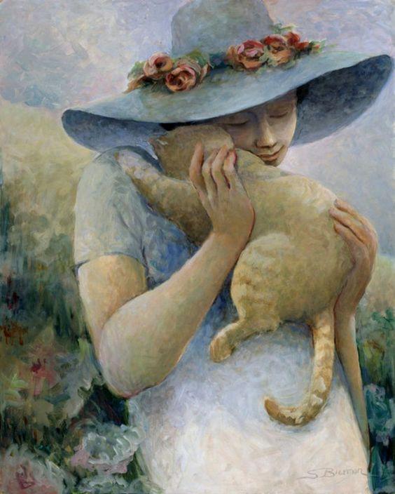 Дама с кошкой в картинках