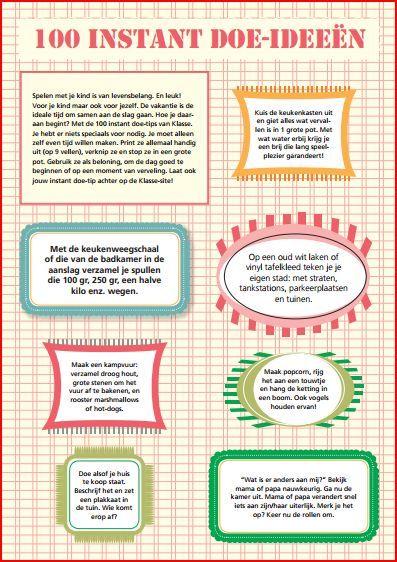 """Nog een idee nodig voor de vakantie : deze poster met """"Doe-ideeën tegen verveling in de vakantie"""" geeft tips ( van thuisinonderwijs.nl)"""