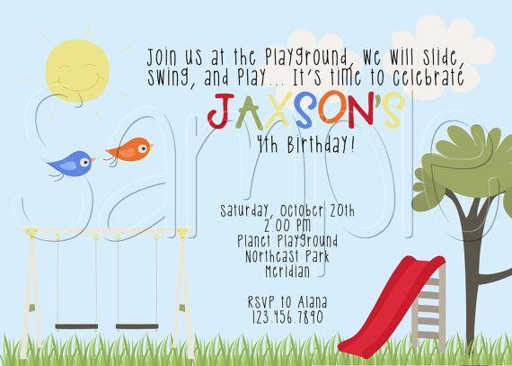 Best 25 Playground birthday parties ideas – Playground Birthday Invitations