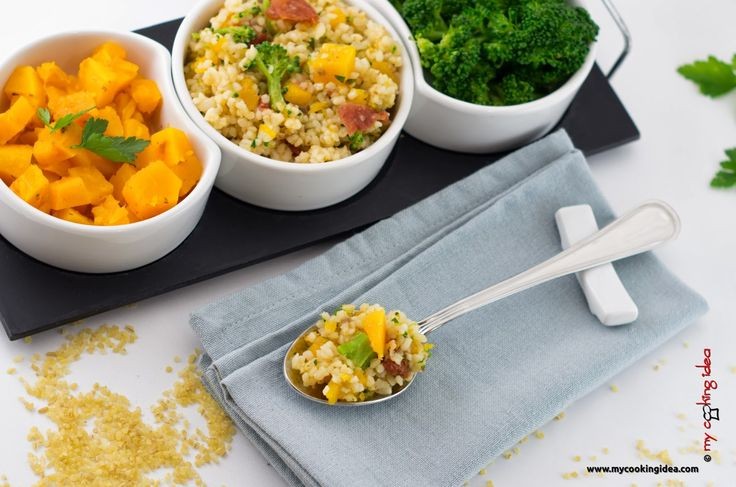 Insalata di bulgur con zucca e broccoli, ricetta vegana, My cooking Idea