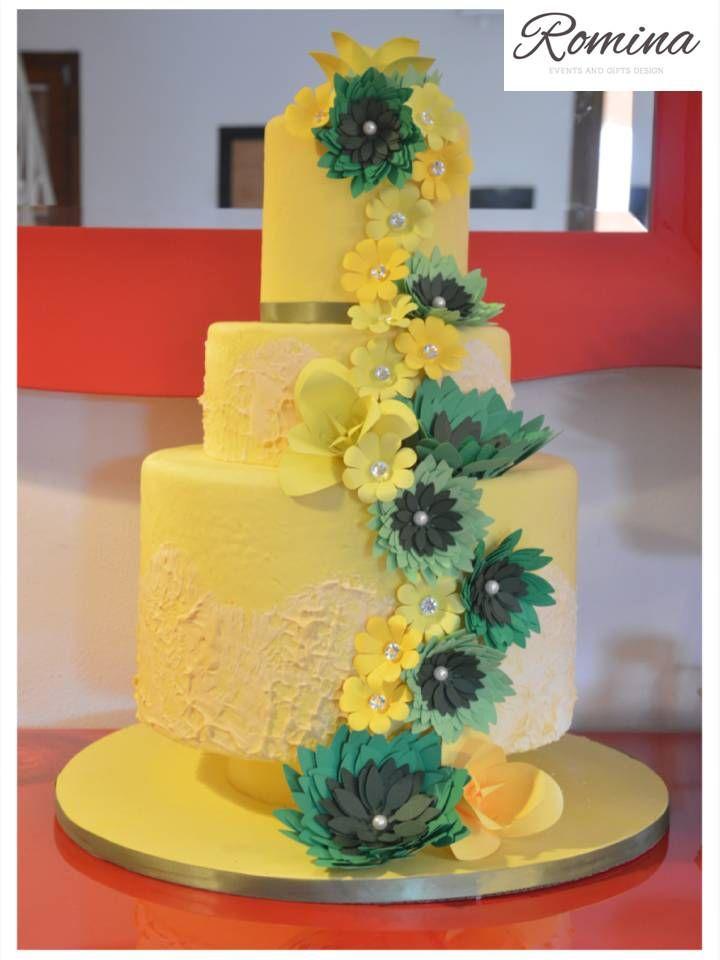 Yellow green wedding cake