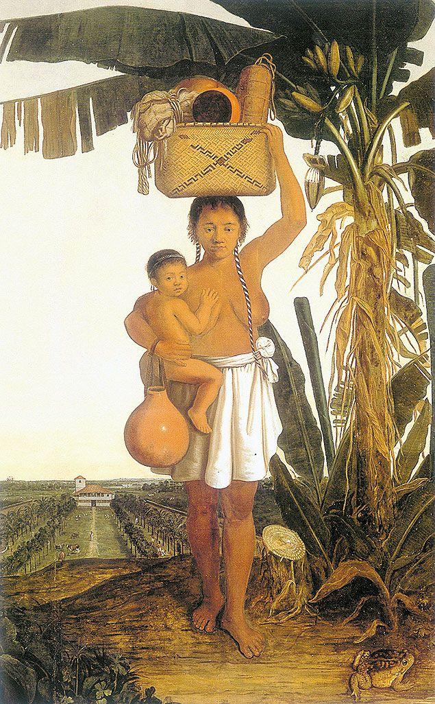 Pintura de índia tupinambá, obra do holandês Albert Eckhout (1610-65)