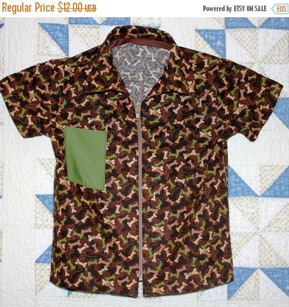 Camo Print Boy's Medium size Zip Front Shirt. Beigeblack green Bone print  on brown background. Green Chest pocket. by RowesFlyingNeedles