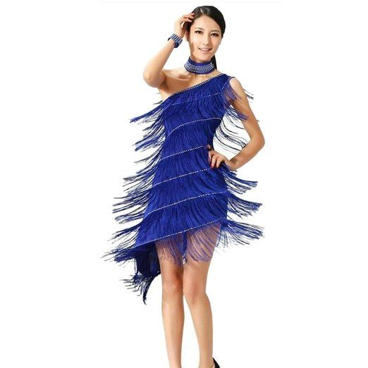 Sexy Tassel Gowns Salsa Samba Rumba Tango Latin Dance Dress With Ornaments: Sports & Outdoors