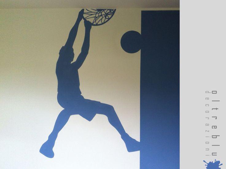 Decorazione, murale, interno, camera, cameretta, tinta, acrilico, basket, blu, sagoma