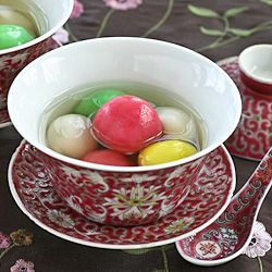 Tang Yuan (Glutinous Rice Balls) with Red Bean Paste Filling for the Winter Solstice Festival