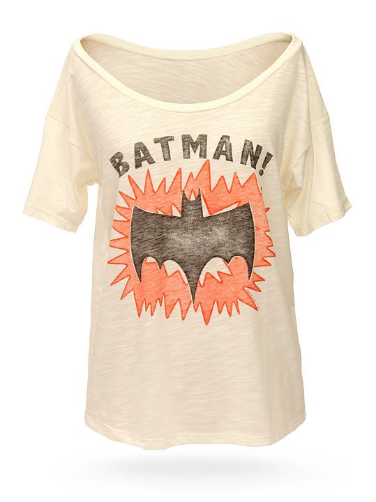 Batman Retro Off-the-Shoulder Ladies' Tee -- I love the neckline!  I'm sick of boring t-shirt necks, this is awesome!: Thinkgeek Batman, Off The Shoulder Ladies, Ladies Batman, Retro Off The Shoulder, Batman Shirt, Thinkgeek Retro