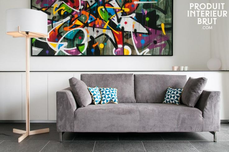 Canapé déhoussable gris en velours vendu sur produitinterieurbrut.com.