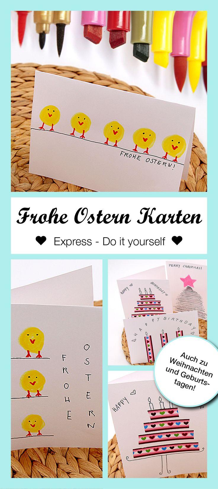 Schnelles DIY: Geschenk Karten zu Ostern, Geburtstag und Weihnachten mit wenigen Handstrichen selbst basteln.
