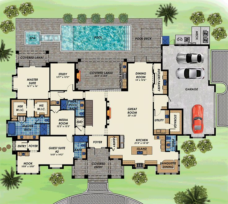 Contemporary House Plan 71536 Level One