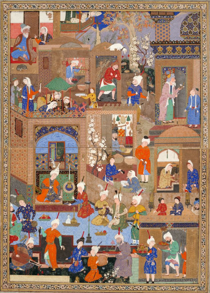 Unknown Artist Previously attributed to Mir Sayyid 'Ali, Persian ( 16th century) Nighttime in a Palace, probably a folio from an illustrated manuscript c. 1540 Middle East, Iran, Tabriz  Safavid period Persian Opaque watercolor, gold and silver on paper image: 28.6 x 20 cm (11 1/4 x 7 7/8 in.) Acquisition and Rights Harvard Art Museums/Arthur M. Sackler Museum, Gift of John Goelet, formerly in the collection of Louis J. Cartier Object Number 1958.76