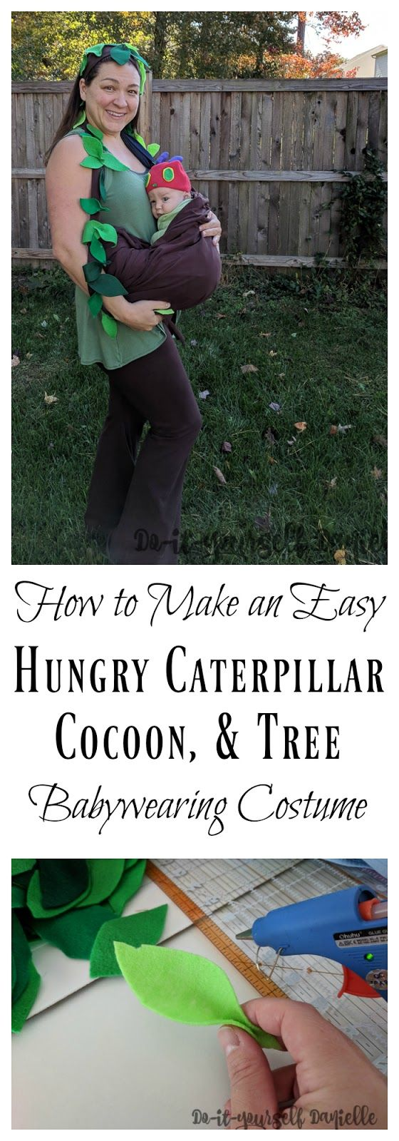 Easy DIY Halloween Ring Sling costume: Hungry Caterpillar in a cocoon on a tree.
