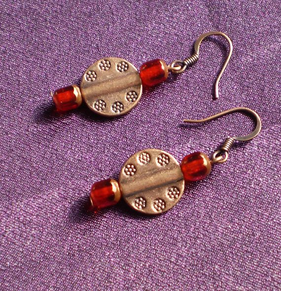 Copper disc with red glass copper dips by EachBeadCounts on Etsy
