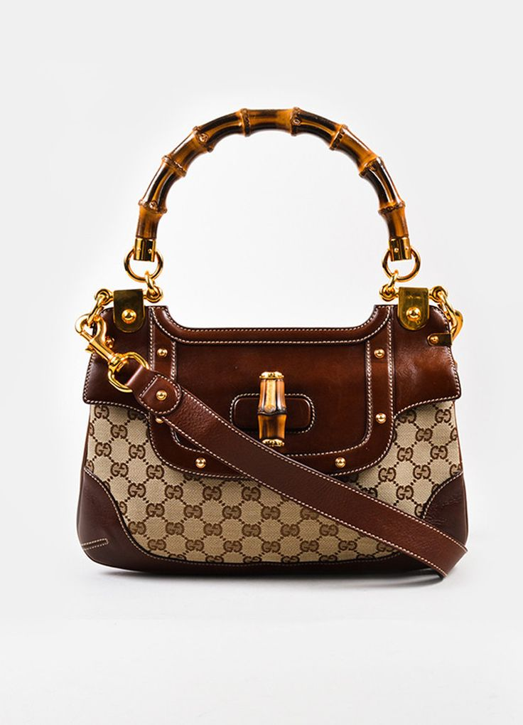 Gucci Brown Canvas Leather Bamboo Monogram Print Shoulder Bag