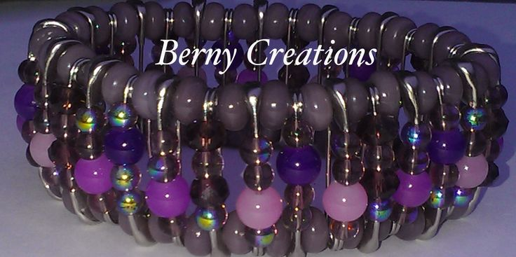 This beautiful bracelet was custom made with stainless steel safety pins, and different shades of purple seed beads, the safety pins measures 1 inch, each safety pin has been pinched closed to prevent opening and has been strung on stretchy cord to fit most wrist sizes, it is comfortable, durable...