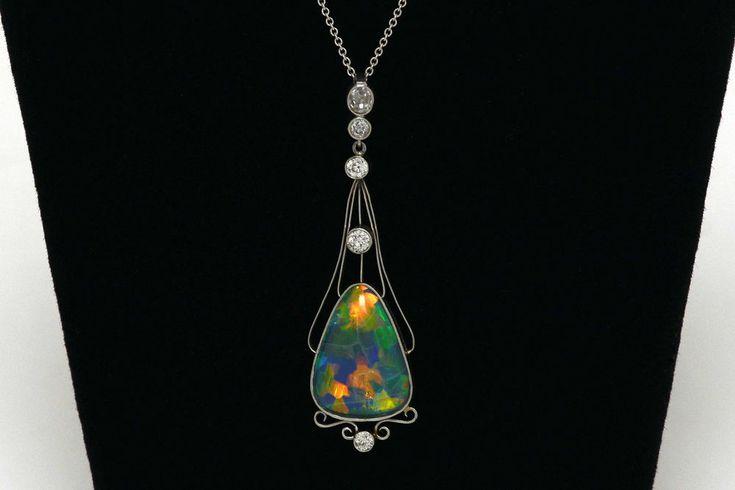 Black Opal Lightning Ridge Diamond Platinum 1900s Antique Necklace Art Nouveau #Pendant