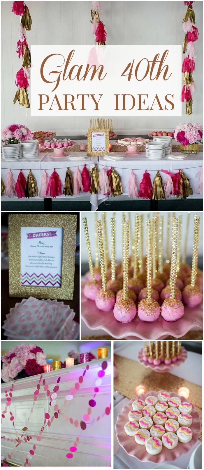 This pink and gold 40th birthday soiree is full of glitz and glam! See more party ideas at CatchMyParty.com!