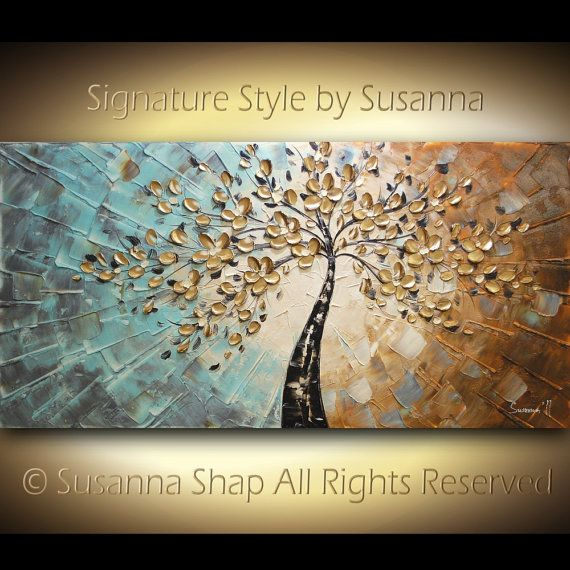 ORIGINAL Large Abstract Contemporary Gold Tree Painting Textured Modern Palette Knife Oil Impasto Landscape Cherry Blossom by Susanna 48x24