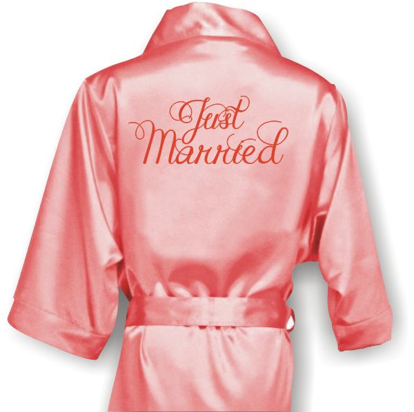 Personalized Bridal Satin Robe with title on the back. Wedding Accessories Perth