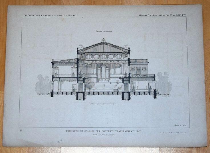 1894 BAUZEICHNUNG FASSADE Konzert-Halle von Daniele Donghi