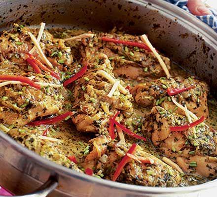 Indian spice box chicken.  - 25g fat green mild chillies.  - 1 1/2 large garlic cloves.  - 2 1/2 piece of fresh root ginger.  - bunch of fresh coriander.  - 100g carton of full-fat Greek yogurt.  - 1 medium onion.  - 4 medium bone-in chicken thighs  - 1 tbsp groundnut or corn oil.  - 1 tsp fennel seeds.  - 1/2 tsp cumin seeds.  - good knob of butter.  - Chilli-ginger garnish.