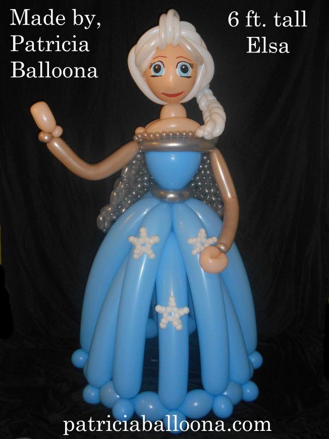 Balloon Elsa made by Patricia Balloona, http://patriciaballoona.wordpress.com/2014/08/28/386th-balloon-sculpture-6ft-tall-elsa/