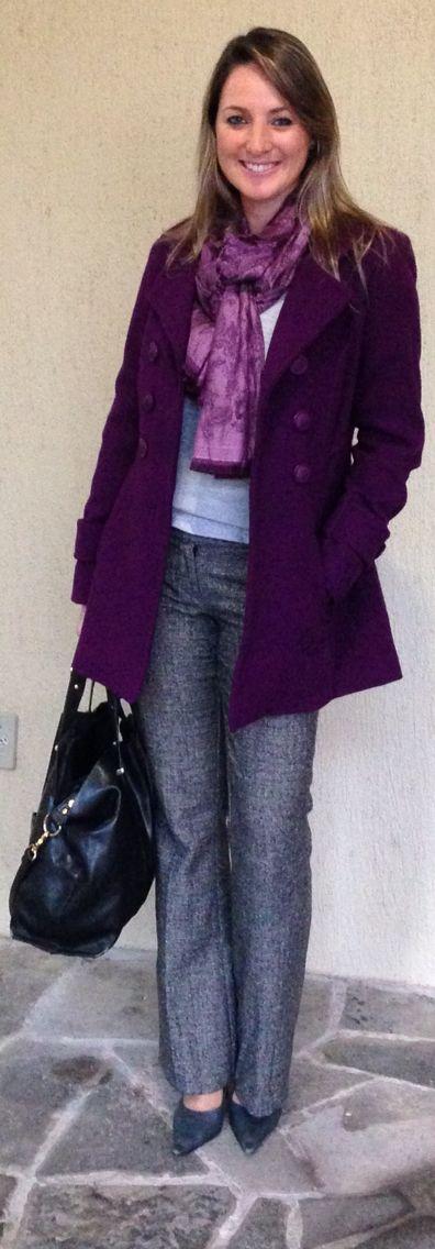 Look de trabalho - look do dia - moda corporativa - look de inverno - winter outfit - fall outfit - work outfit - casaco roxo - cinza e roxo - purple coat - grey
