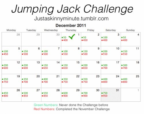 beginners jumping jacks 30 day plan - Google Search. But do 1,000 per day also instead, and in 7days a week you can lose 1 lb, or if someone just wants to be toned, fit can achieve tour goals fastest this way. Spread it out throughout day if want. An very simple, exercise that's fun and can achieve highest amount of calories from it on average workout 500 calories.