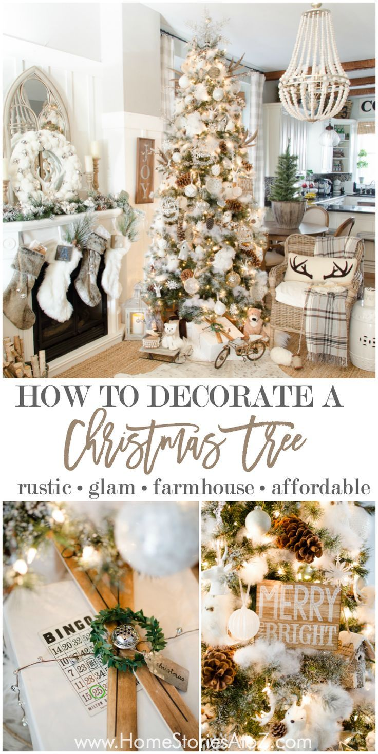 10 tips on how to decorate a Christmas tree affordably. Rustic glam farmhouse Christmas. Neutral Christmas.